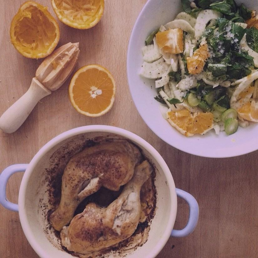 Salat aus Fenchel, Orangen und Huhn