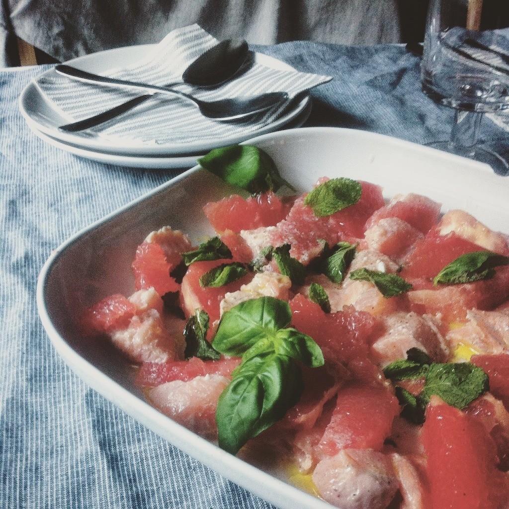 Lachs Ceviche mit Grapefruit und Kokosmilch